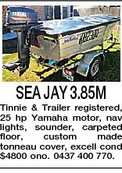 SEA JAY 3.85M Tinnie &amp; Trailer registered, 25 hp Yamaha motor, nav lights, sounder, carpeted floor, custom made tonneau cover, excell cond $4800 ono. 0437 400 770.