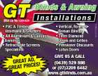 BSA Lic No 1201424 Installations * PVC & Timber Venetians & Shutters * All Aluminium & Canvas Awnings * Retractable Screens Specialists GREAT AD, S! E GREAT PRIC * Vertical, Roller & Roman Blinds * 7mm Diamond Doors and Grilles * Pensioner Discounts * Lotus Doors GIVE US A CALL (0439) 529 898 or (07)3209 6482 www.gtblinds.com.au 4067732aaHC GT Blinds & Awning