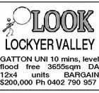 LOCKYER VALLEY GATTON UNI 10 mins, level flood free 3655sqm DA 12x4 units BARGAIN $200,000 Ph 0402 790 957