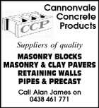 Cannonvale Concrete Products Suppliers of quality MASONRY BLOCKS MASONRY &amp;amp; CLAY PAVERS RETAINING WALLS PIPES &amp;amp; PRECAST Call Alan James on 0438 461 771