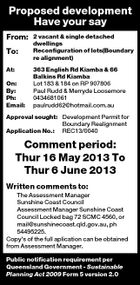 Proposed development Have your say From: To: At: On: By: Ph: Email: 2 vacant &amp;amp; single detached dwellings Reconfiguration of lots(Boundary re alignment) 363 English Rd Kiamba &amp;amp; 66 Balkins Rd Kiamba Lot 183 &amp;amp; 184 on RP 907806 Paul Rudd &amp;amp; Merryde Loosemore 0434681061 paulrudd62@hotmail.com.au Approval sought: Development Permit for Boundary Realignment Application No.: REC13/0040 Comment period: Thur 16 May 2013 To Thur 6 June 2013 Written comments to: The Assessment Manager Sunshine Coast Council Assessment Manager Sunshine Coast Council Locked bag 72 SCMC 4560, or mail@sunshinecoast.qld.gov.au, ph 54495225. Copy&amp;#39;s of the full aplication can be obtained from Assessment Manager. Public notification requirement per Queensland Government - Sustainable Planning Act 2009 Form 5 version 2.0