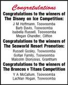 Congratulations Congratulations to the winners of The Disney on Ice Competition: J M Hoffmann, Toowoomba Barb Davis, Toowoomba Isabella Russell, Toowoomba Megan Chandler, Clifton Congratulations to the winners of The Seaworld Resort Promotion: Russell Gosley, Toowoomba Gollan Family, Toowoomba Malcolm Dionysius, Grantham Congratulations to the winners of The Broncos v Titans Competition Y A McCallum, Toowoomba Lachlan Hogan, Toowoomba
