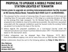 "PROPOSAL TO UPGRADE A MOBILE PHONE BASE STATION LOCATED AT TEWANTIN Telstra plans to upgrade an existing telecommunications facility located at 46 Cooroy Noosa Road, Tewantin QLD 4565 (Lot 41 on MCH5489). 1. The proposed facility consists of removing three (3) panel antennas (2.26m long) and installing three (3) new panel antennas (1.33m long) at a centreline elevation of 30m on the existing 30m high monopole. Six (6) Remote Radio Units (RRUs) are also proposed to be installed as close to the antennas as possible. Any electronic equipment associated with the proposed installation would be housed inside the existing Telstra equipment hut located at the base of the facility. 2. Telstra regards the proposed installation as a Low-impact Facility under the Telecommunications (Low-impact Facilities) Determination 1997 (""The Determination"") based on the description above. 3. Further information can be obtained from Kloe Robinson, 3173 8611, kloe.robinson@aurecongroup.com and at www.rfnsa.com.au NSA Number: 4565001 Written submissions should be sent to the following address by Friday 31 May 2013 to: Kloe Robinson Aurecon Pty Ltd Locked Bag 331 Brisbane QLD 4001"
