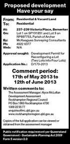 Proposed development Have your say From: To: Residential &amp;amp; Vacant Land Residential At: On: 237-239 Victoria Place, Berserker Lot 1 on SP191851 and Lot 9 on RP897753, Parish of Archer McKeagues Surveying Consultants 4922 6377 N/A By: Ph: Web: Approval sought: Development Permit for Reconfiguring a Lot (Two Lots into Four Lots) Application No.: D/170-2013 Comment period: 17th of May 2013 to 12th of June 2013 Written comments to: The Assessment Manager: Alyce McLellan Development Assessment Rockhampton Regional Council PO Box 1860 Rockhampton 4700 1300 22 55 77 enquiries@rrc.qld.gov.au www.rockhamptonregion.qld.gov.au Copies of the full application can be viewed or obtained from the assessment manager Public notification requirement per Queensland Government - Sustainable Planning Act 2009 Form 5 version 2.0