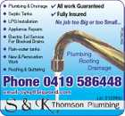 Septic Tanks  LPG Installation  Appliance Repairs  All work Guaranteed  Fully Insured No job too Big or too Small... 3547567aa  Plumbing & Drainage  Electric Eel Service For Blocked Drains  Rain-water tanks  New & Renovation Work  Roofing & Guttering Plumbing Roofing Drainage Phone 0419 586448 email: syky@bigpond.com Lic: 212393c