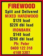 FIREWOOD Split and Delivered MIXED HARDWOOD $120 load $220 dbl load IRONBARK $140 load $260 dbl load Ph: Peter 0400 122 318 4168 3307