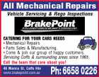 All Mechanical Repairs Vehicle Servicing & Rego Inspections CATERING FOR YOUR CARS NEEDS * Mechanical Repairs * Parts Sales & Manufacturing. * Come & join our group of happy customers. Servicing Coffs & surrounding areas since 1965. Call the team that care about you! 48 Marcia St, Coffs Hbr www.brakepoint.com.au Ph: 6658 0226
