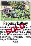 Regency battery D SOL peddle assist pushbike, 7 month old 7 gears . perfect for Toowoomba hills . Ideal for work or pleasure, with 2 batteries, charger, carry bags. $1200ono. Call