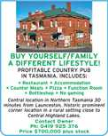 BUY YOURSELF/FAMILY A DIFFERENT LIFESTYLE! PROFITABLE COUNTRY PUB IN TASMANIA. INCLUDES:  Restaurant  Accommodation  Counter Meals  Pizza  Function Room  Bottleshop  No gaming Central location in Northern Tasmania 30 minutes from Launceston, historic prominent corner location in a rural setting close to Central Highland Lakes. Contact Owner Ph: 0419 925 376 Price $700,000 plus stock