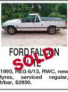FORD FALCON D UTE SOL 1995, REG 6/13, RWC, new tyres, serviced regular, t/bar, $2850.