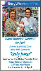 "BABY BUNDLE WINNER for April James & Melissa Gale with their baby son ""Craig James"" Winner of the Baby Bundle from Terry White Chemist Clifford Gardens for the month of April. 5230245aaHC"