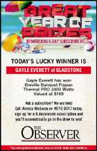 GAYLE EVERETT of GLADSTONE Gayle Everett has won Breville Banquet Frypan Thermal PRO 2400 Watts Valued at $169