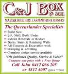 "The Queenslander Specialists  Build New  Lift, Shift, Build Under  Extend, Renovate or Restore  Decks, Stairs & Retaining Walls  All Concrete & Excavation work  Stumping & Levelling  Complete design service available ""Old fashioned Quality, Service & Value"" Compare our price with a Free Quote Call John 0412 066 205 or 3812 4007 QBSA 712882"