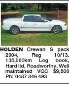 HOLDEN Crewan S pack 2004, Reg 10/13, 135,000km Log book, Hard lid, Roadworthy, Well maintained VGC $9,800 Ph: 0487 846 493