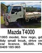 Mazda T4000 1995 model, Nov rego, gd tidy small trcuk, drive on car licence. $6,000. Ph 0409 185 065