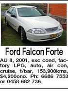 Ford Falcon Forte AU II, 2001, exc cond, factory LPG, auto, air con, cruise, t/bar, 153,900kms, $4,200ono. Ph: 6686 7553 or 0458 682 736