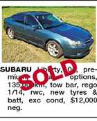 OLD S SUBARU Liberty, 04, premium, full options, 135,000km, tow bar, rego 1/14, rwc, new tyres &amp;amp; batt, exc cond, $12,000 neg.