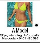 A Model 27yo, stunning. In/outcalls. Marcoola - 0401 425 598