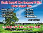 South Burnett Tree Removal & Mini Dingo Digger Hire * Stump Grinding * Woodchipping * Cherry Picker * Tree Pruning * Tip Truck * Trenching * Post Holes * Cement Mixer Fully Insured Ph: 0409 277 203 or 4162 7607 aratula.54@bigpond.com 5151996aa Rodger Wiggins