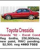Toyota Cressida Grande &amp;#39;92 - Excel Cond Reg 6mths, 250,000kms, new paint, RWC pending. $2,500. neg 4693 7032