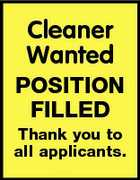 Cleaner Wanted POSITION FILLED Thank you to all applicants.