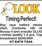 Timing Perfect! Buy now before mines start, Cooloola, nth of Noosa 4 brm ensuite DLUG +extras quality 1.5 acs. Top investment $249,950! 07 5476 7244