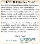 "FENNER, Edith Jane ""Edie"" Late of Toowoomba and formerly of East Greenmount, passed away on 17th May 2013, aged 104 years. Beloved Wife of Joe (dec'd). Dearly loved Mother and Mother-in-law of Neville and Jean; Lyndell and Chris Harris; Stanley (dec'd) and Jenny; Leslie and Mary. Loving Grandmother and Great-Grandmother of their respective families. Loved Aunt to June Burton. Relatives and friends are respectfully invited to attend Edie's funeral, to be held at the Chapel of the Toowoomba Crematorium, 1001 Ruthven Street (south), Toowoomba, Service commencing at 10.30am, Wednesday, 22nd May 2013. ""Rest in Peace"" Ph 4636 9600"