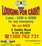 Loans - $100 to $2000 for any emergency We are BACK 2 Smiths Road In our old store Australian Credit Lic 388992