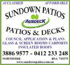 ACCLAIMED AFFORDABLE COUNCIL APPLICATION & PLANS GLASS & SCREEN ROOMS CARPORTS INSULATED ROOFS 3886 9577 - 0412 233 248 NORTHSIDE BSA 719275 www.sundownpatios.com.au