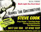 5158658aa B.S.A. 1156362 Built right the first time! EE FRdamage d Flooquotes STEVE COOK Dingo Digger * Trenching/Auger Fencing Rural/Domestic Yard Maintenance 0417 241 550 07 4162 1337 www.hammertimeconstructions.com.au