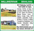 MILLMERRAN $599,000 $$ Producing Lev142 a, Suit Cattle & Crops. Homes TOTAL 6 Bed, 4 Lounge, 3 Bath ( Sep D/ L) D/ Air, Spac O/s Rooms, Media Room, Gym. 2 Dams, Creek, Irrig, UFP (5000L pd)Cattle Yards, W Bars, V Crush, C Water Troughs to Paddocks, F+E Fences 20mx9m 5Bay Mach Shed http://totalrealestate.com.au Sue Seivers 0416 025 777