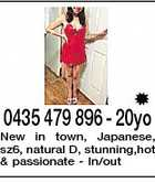 0435 479 896 - 20yo New in town, Japanese, sz6, natural D, stunning,hot & passionate - In/out