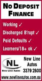 NO DEPOSIT FINANCE Working  Discharged B'rupt  Paid Defaults  Learners/18+ ok  New Line Autos 3379 2800 www.newlineautos.com.au
