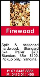 Firewood Split & seasoned hardwood. Standard 6x4 Trailer $70. Standard Ute $100. Pickup only. Yandina. P: 07 5446 8835 M: 0413 011 400