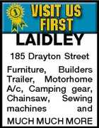 LAIDLEY 185 Drayton Street Furniture, Builders Trailer, Motorhome A/c, Camping gear, Chainsaw, Sewing machines and MUCH MUCH MORE
