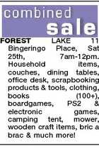 FOREST LAKE 11 Bingeringo Place, Sat 25th, 7am-12pm. Household items, couches, dining tables, office desk, scrapbooking products & tools, clothing, books (100+), boardgames, PS2 & electronic games, camping tent, mower, wooden craft items, bric a brac & much more!