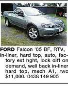 FORD Falcon '05 BF, RTV, in-liner, hard top, auto, factory ext hght, lock diff on demand, well back in-liner hard top, mech A1, rwc $11,000. 0438 149 905