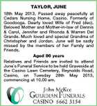 TAYLOR, JUNE 18th May 2013. Passed away peacefully at Cedars Nursing Home, Casino. Formerly of Goodooga. Dearly loved Wife of Fred (dec). Beloved Mother and Mother-in-law of Dennis & Carol, Jennifer and Rhonda & Warren Del Grande. Much loved and special Grandma of Christopher and Jordan. June will be sadly missed by the members of her Family and Friends. Aged 86 years Relatives and Friends are invited to attend Junes Funeral Service to be held Graveside at the Casino Lawn Cemetery, Reynolds Road, Casino, on Tuesday 28th May 2013, commencing at 10.00 am.