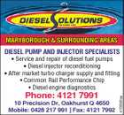 MARYBOROUGH & SURROUNDING AREAS DIESEL PUMP AND INJECTOR SPECIALISTS * Service and repair of diesel fuel pumps * Diesel injector reconditioning * After market turbo charger supply and fitting Phone: 4121 7991 10 Precision Dr, Oakhurst Q 4650 Mobile: 0428 217 991 | Fax: 4121 7992 4703052aa * Common Rail Performance Chip * Diesel engine diagnostics