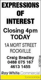 EXPRESSIONS OF INTEREST Closing 4pm TODAY Craig Bradley 0488 075 167 4613 1455 5210931aa 1A MORT STREET ROCKVILLE Toowoomba