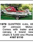 1979 QUINTREX 4.4m, 60 HP Johnson Motor. Comes with trailer and canopy. 4 brand new chairs $ 5,000 ono Phone 4167 8110