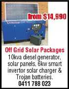 Off Grid Solar Packages 10kva diesel generator, solar panels, 6kw smart invertor solar charger & Trojan batteries. 0411 788 023