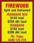 FIREWOOD Split and Delivered IRONBARK MIX $140 load $250 dbl load IRONBARK $160 load $300 dbl load Ph: Peter 0400 122 318