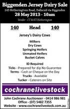 Biggenden Jersey Dairy Sale 145 Hetheringtons Road, Dallarnil via Biggenden 28 May 2013 - 10am Vendor - CT & KT Hetherington 140 Head 140 Jersey's Dairy Cows Milkers Dry Cows Springing Heifers Unmated Heifers Bucket Calves John Cochrane Auctioneer - 0414 986 981 Office - (07) 5482 7355 Website - www.cochranelivestock.com.au 5245736aa ID Required Ticks - Prepared for dip No Guarantee Terms - Cash or Cheque on the Day Trucks - Available Tucker - Caterers on Site
