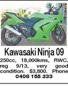 Kawasaki Ninja 09 250cc, 18,000kms, RWC, reg 9/13, very good condition. $3,800. Phone 0408 155 333