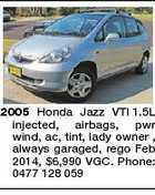 2005 Honda Jazz VTI 1.5L injected, airbags, pwr wind, ac, tint, lady owner , always garaged, rego Feb 2014, $6,990 VGC. Phone: 0477 128 059