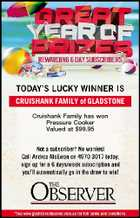 CRUISHANK FAMILY of GLADSTONE Cruishank Family has won Pressure Cooker Valued at $99.95