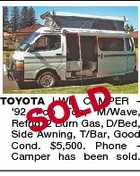 OLD S TOYOTA LWB CAMPER '92 Pop Top, M/Wave, Refrig, 2 Burn Gas, D/Bed, Side Awning, T/Bar, Good Cond. $5,500. Phone Camper has been sold.