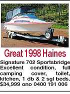 Great 1998 Haines Signature 702 Sportsbridge Excellent condition, full camping cover, toilet, kitchen, 1 db & 2 sgl beds. $34,999 ono 0400 191 006