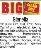 Glenella 12 Kew Crt, Sat 25th May 7am-1pm: electrical items, dining table/chairs, chest of drawers, homewares, kitchen/bathroom items, baby clothes, books, linen, DVDS, computer games and more!